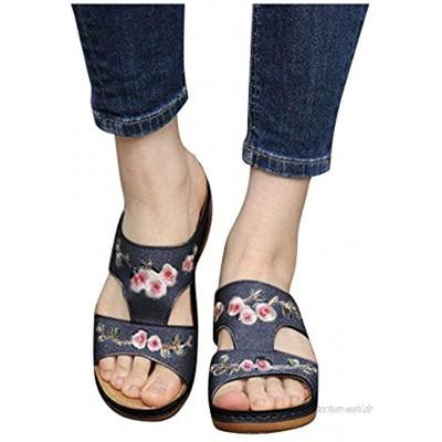 Binggong Sommer Neu Sandalen Komfort Mode rutschfeste Sandalen für Frauen Offener Zeh Casual Sandaletten Boho Stil Freizeitschuhe Römische Schuhe Gartenschuhe für Shopping