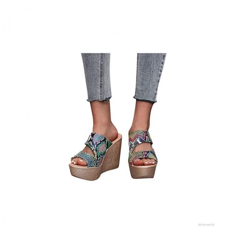Goosuny Sandalen Damen Sommer Römersandalen Pantoletten Schuhe Plateau Keilsandalen Frauen Sandaletten Wedge Heel Sandalen Offene Schuhe Mode Strandsandalen Anti-Rutsch