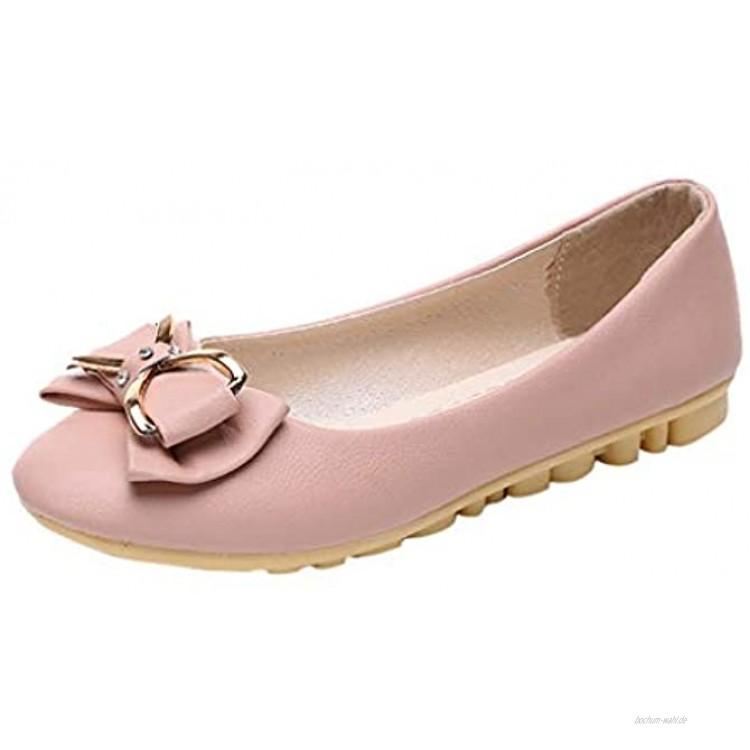 Damen Klassische Ballerinas Flache Schuhe mit Schleife Frauen Mokassins Weich Comfort Freizeit Loafers Schöner Damenschuhe Celucke