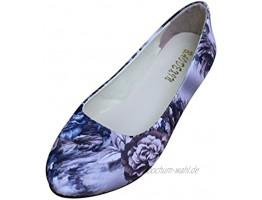 Damen Elegant Ethnische Bestickte Schuhe Tanzschuhe Niedrigem Keil Ballerina Mary Jane Blumen Flache