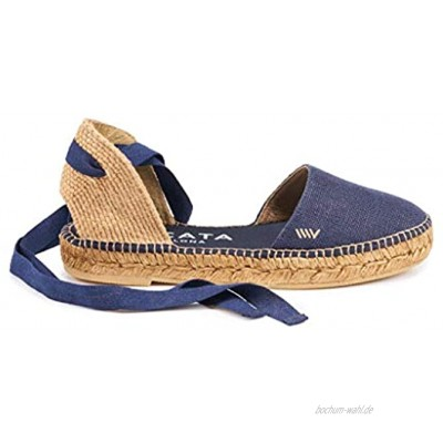 VISCATA Handmade in Spain Candell Linen Sandal Soft Ankle Tie Closed Toe Espadrilles Flats
