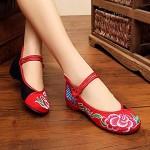 FHSMRING Handgemachte Frauen Pfingstrose Gestickte Ballettwohnungen Schuhe Damen Vintage Atmungsaktive Baumwolle Müßiggänger Schuhe für Frau Harajuku Color : Zwart Größe : 37 EU