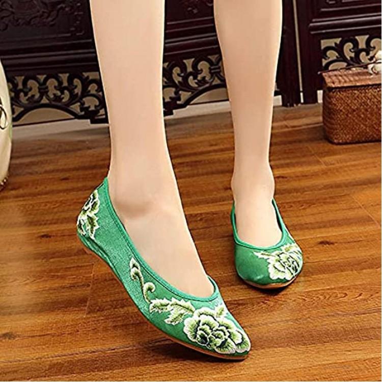 FHSMRING Handgemachte Frauen Schöne Folk Stickerei Ballettwohnungen Komfort Weiche Leinwandschuhe Für Frau Flache Schuhe Harajuku Color : 39.5 EU Größe : 41.5 EU