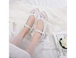 FHSMRING Komfortable Frauen Baumwollstoffe Flache Schuhe Damen Casual Weiche Wanderschuhe Gestickte Ballettwohnungen Harajuku Color : Wit Größe : 37 EU