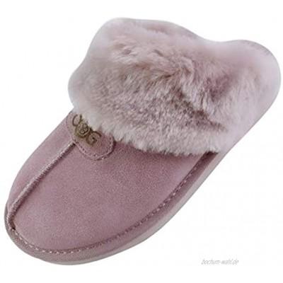 OOG Damen Winter warme Hausschuhe Pantoffeln mit Echt-Leder Winter Memory Foam Plüsch Warm rutschfeste Slippers House Slippers