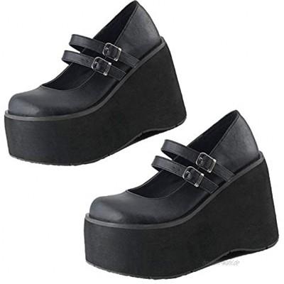 Damen Lolita Plateau Pumps für Damen Gothic Mary Jane Cosplay Wedges Dress Shoes
