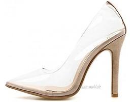 Tomwell Damen Pumps mit Hohen Spitze Stiletto-Absatz Transparente Perspex High Heels Rutsch Stiletto Party Hochzeit Schuhe