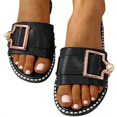 Minetom Slides Damen Metallic Schnalle Hausschuhe Bequeme Fußbett Sandalen Flach Sommer Sandalen Slides Pantoletten Strandsandalen