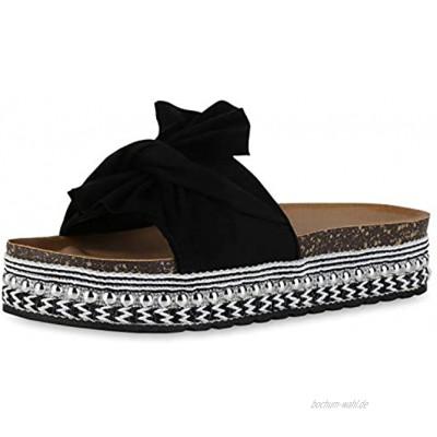 SCARPE VITA Damen Sandaletten Pantoletten mit Plateau Schleifen Nieten