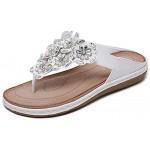 Zehentrenner sandalen damen Bohemia flach Sommer Flip Flops Leder Clogs und Pantoletten für Damen Sommerschuhe T-Strap Strand Hausschuhe Casual Elegant Schuhe