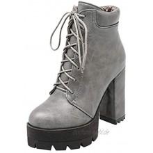 MaNMaNing-Shoes Damen Einfarbig Runder Zeh Stiefeletten Lace-Up Kurzen Plüsch Elegante Freizeit High Heel Schuhe