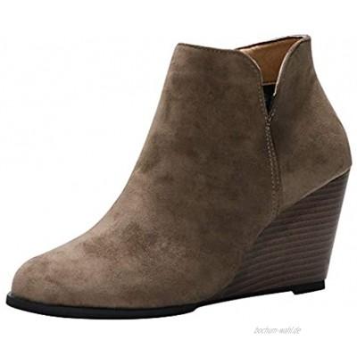 SOMESUN Damen High Heels Stiefel Absatz Ankle Boots Herbst Winter Kurz Stiefel Wildleder High Heels Schuhe mit Seitlicher Reißverschluss Stiefeletten Kurze Booties