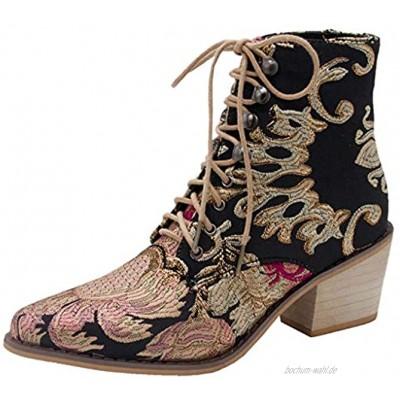 SOMESUN Retro Damen Schnür Stiefeletten Quadratische Ferse Stickerei Wildleder Stiefel Mode Schnürstiefel Spitzschuhe High Heels Stiefel