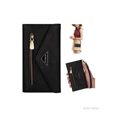 Uposao Kompatibel mit Samsung Galaxy Note 10 Lite Handykette Hülle Wallet Leder Hülle Klapphülle Brieftasche Schutzhülle Geldbörse Flip Case Kartenfach Reißverschluss für Mädchen Frauen,Schwarz