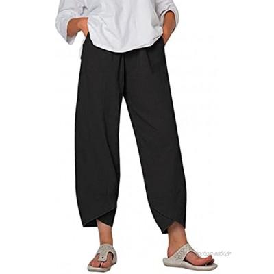 Sfit Sommerhosen Damen Leicht 7 8 Haremshosen aus Baumwolle und Leinen mit Weitem Bein Lose Hose Lockere Casual Stoffhosen Elastischer Bund Modedruck Freizeithosen mit Pocket