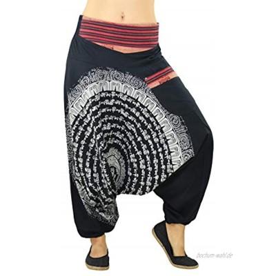 virblatt Haremshose Damen & Herren   100% Baumwolle   Goa Hose Aladinhose Pumphose Pluderhose Hippie Sommerhose Yoga