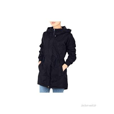 iloveSIA Damen Regenjacke Regenmantel Mit Kapuze Dünne Leichte Jacke Übergangsjacke Im Parka-Stil