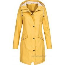 Lazzboy Damen Jacke Hoodie Wasserdicht Mantel Winddicht Friesennerz|Regenjacke Wetterjacke Kapuze Mit Schirm Wasserdicht,Wetterfest&Regenschutz Gummiert