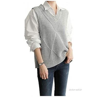 CYSTYLE Damen Weste Strick Pullunder V-Ausschnitt Strickweste Vest mit Strick Feinstrick für Business und Freizeit