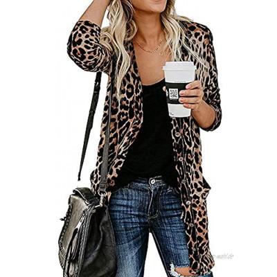Damen Strickjacke Leopardenmuster leicht mit Knopfleiste mit Taschen S-2XL