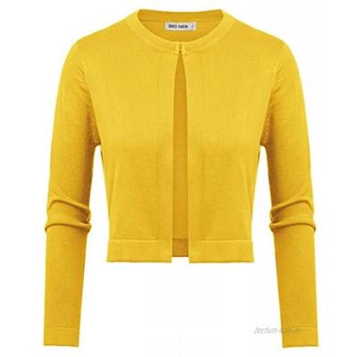 GRACE KARIN Damen Bolero 3 4 Ärmel Rundhals Strickjacke Open Front Elegant Kurz Cardigan Sweater