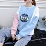 Damen Langarmshirt Rundhals Sweatshirt Locker Frauen Tops Shirt NASA Pullover Oberteil College Jumper Pulli Patchwork Sport Bluse