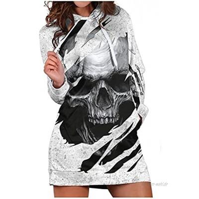Halloween Damen Sweatshirt Kürbis Langes Sweatshirt mit Totenkopf-Print und Kapuze Sweatshirt Langarmshirt Casual Damen Pullover Langarm Damen Oberteil