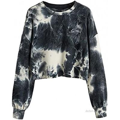 SOLY HUX Damen Crop Pullover Tie Dye Sweatshirt Rundkragen Shirt mit Batik Cooler Pulli Herbst Oberteil Mehrfarbig S