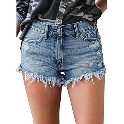 CLOUSPO Damen Jean Shorts Mittler Waist Kurze Hose Bequeme Kurz Jeans Hosen Denim Shorts Kurze Jeans Hot Pants