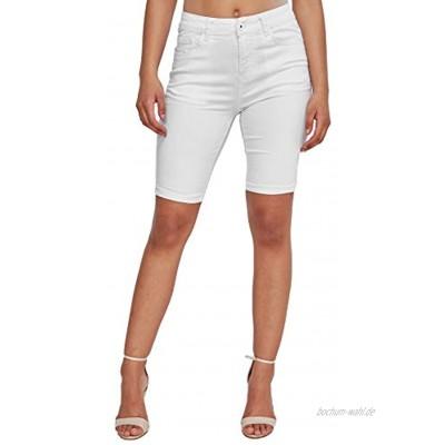 Damen Denim Capri Jeans Shorts 3 4 Super Stretch Kurze Sommer Chino Hose Big Size Bermuda Pants