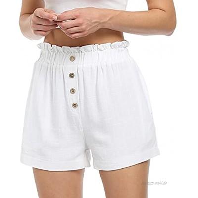 Damen Leinenshorts Bermuda Lockere Kurze Hose Freizeithose Shorts Elegante Haremshose mit KnöPfen Sommer Strand