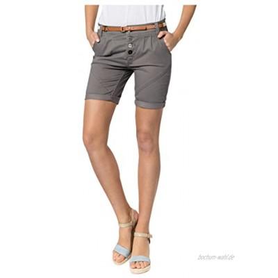 Sublevel Damen Chino Bermuda-Shorts mit Flecht-Gürtel