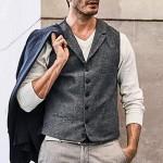 Andiwa Herren Slim Fit Fischgräten-Tweed Weste Einreihige Wollmischung Casual Anzug Weste für Hochzeit Groomsmen Business