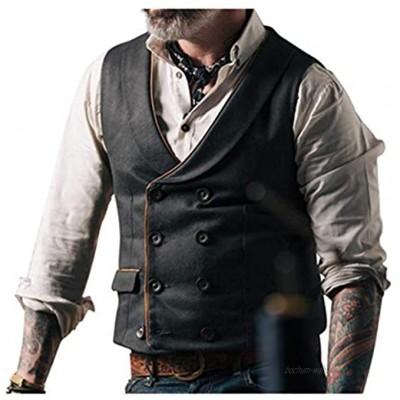 Andiwa Herren Slim Fit Fischgräten-Tweed Weste Zweireihige Wollmischung Anzug Weste für Hochzeit Groomsmen Business