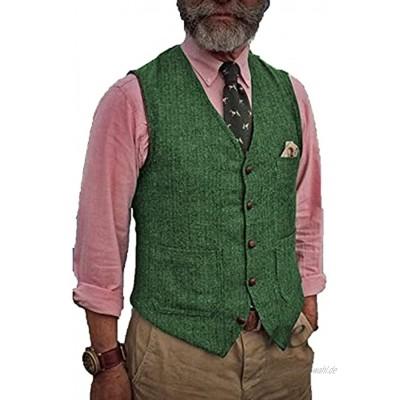 BYLUNTA Herren Tweed Weste Herringbone Hunting Retro V-Hals Slim Wolle Vintage Business