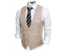 COOFANDY Herren V-Ausschnitt Ärmellos Slim Fit Jacke Casual Anzug Unterhemden