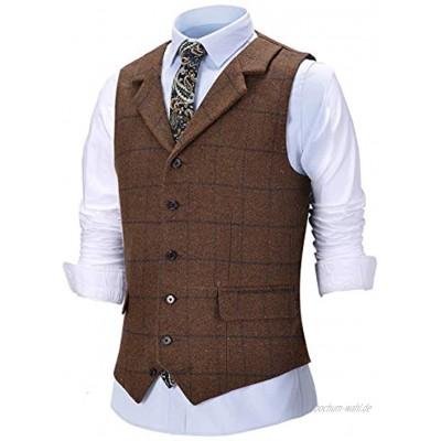 Solove-Suit Herren Formale Kerbe Revers Slim Fit Karierte Weste Tweed Anzug Weste für Groomsmen
