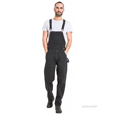 Wash Clothing Company Latzhose,Bequeme Passform Schwarz Jeanslatzhose Herren Overalls Latzjeans