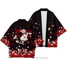 Männer Black Fox Print Kimono Cardigan Set Männlichen Yukata Samurai Kleidung Lässige Lose Streetwear Jacke Hose Hose Anzug S-6XL Color : Kimono Size : XL
