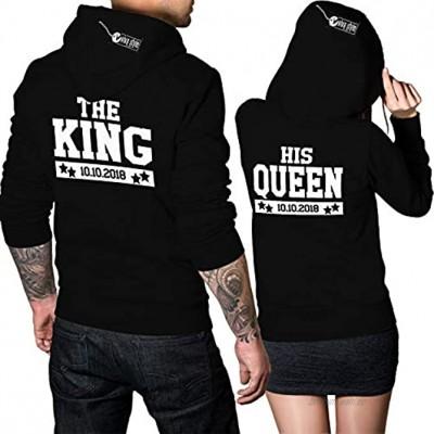 The King His Queen Pulli Datum Hoodie Geschenk für Paare 2 Hoodies 1 Preis