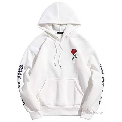 ZAFUL Herren Rosenbrief Vlies Känguru Tasche Kordelzug Hoodie Zur Seite Fahren Kapuzenpullover Grafikdruck Blumendruck Sweatshirt