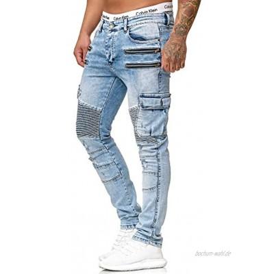 OneRedox Herren Jeans Hose Jeanshose Stretch Blau Freizeithose Denim Slim Fit Modell 5159