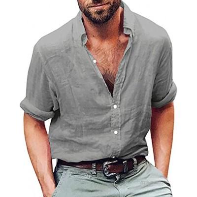Gemijacka Leinenhemd Herren Regular Fit Button-down Sommerhemd Langarm & Kurzarm Herren Hemd Shirt Freizeithemd Herren