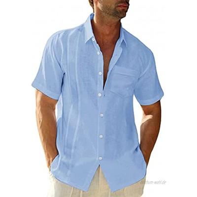 LVCBL Herren Langarm und Kurzarm Hemd Sommerhemd Freizeithemd mit Brusttasche Regular Fit Men Shirts