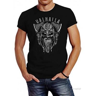 Neverless® T-Shirt Aufdruck Valhalla Wikinger Helm Viking Odin Krieger Printshirt Fashion Streetstyle