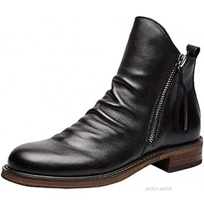CYGGA Mode Lederstiefel Große Größe Kurze Stiefel Freizeitstiefel Bilateraler Reißverschluss Quaste Stiefel Stiefeletten rutschfeste Bequeme Herrenstiefel Outdoor Winterstiefel