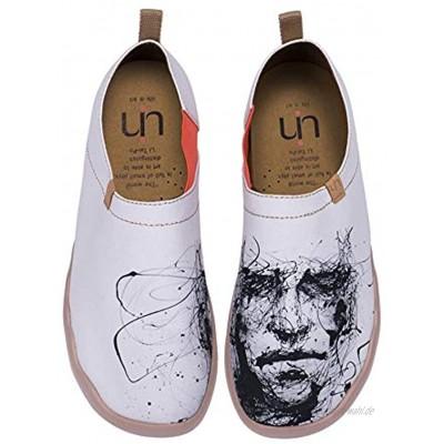 uin Herr Schweigen Bemalte Canvas Schuhe Herren Slip On Weiß 45