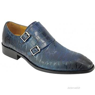 Xposed Neu Männer Polierte Patterned Echtes Leder Blau Monk Straps MOD Schuhe 6 7 8 9 10 11 11,5