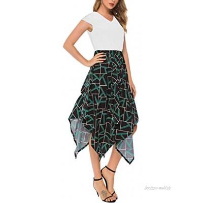 Acramy Damen Sommerkleid Knielang Kurzarm Asymmetrisches Spleißen A-Linie Elegante Kleider