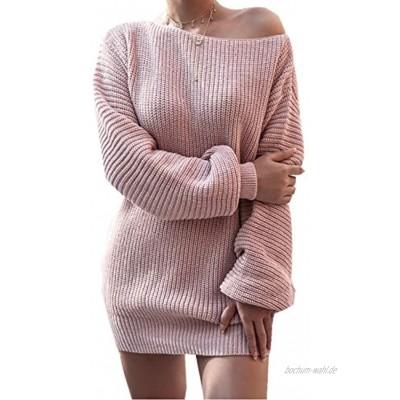 Cyiozlir Pulloverkleid Damen Strickkleid Elegant Sexy Schulterfrei Lose Laternenärmel Oberteile Kleid Strickkleider für Damen